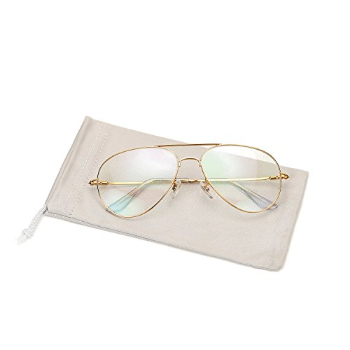 Pro Acme Fashion Memory Titanium Clear Aviator Glasses Frames for Men Women Gold and Silver (Gold, Clear/Coating Lens)