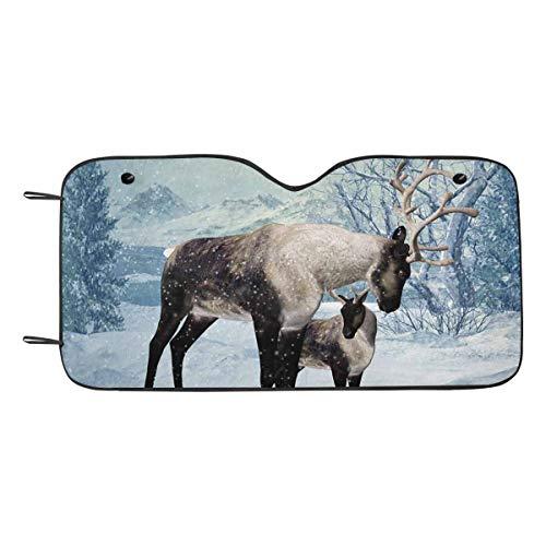 - INTERESTPRINT Winter Reindeer Fawn Car Front Window Sunshades Auto Sun Blocker Protector