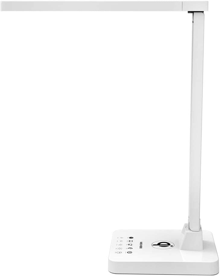LED Desk Lamp, MEIKEE Flexible Desk Lamp with Wireless Charging, Office Desk Lamp White, 4 Lighting Modes with 4 Brightness Levels, 5V 1A USB Charging Port, Touch Control Memory Function