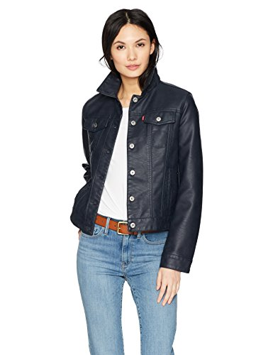 Navy Faux Leather - Levi's Women's Classic Faux Leather Trucker's Jacket, Navy, Medium