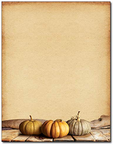 Fall Pumpkins Autumn Letterhead Paper - 80 Sheets - for Invitations, Flyers, -