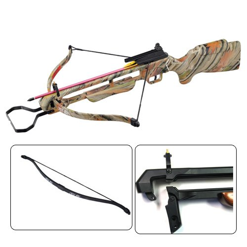 150 lbs Wizard Camo Pre-strung Hunting Crossbow with 4x20 Scope, Quiver and 8 Arrows