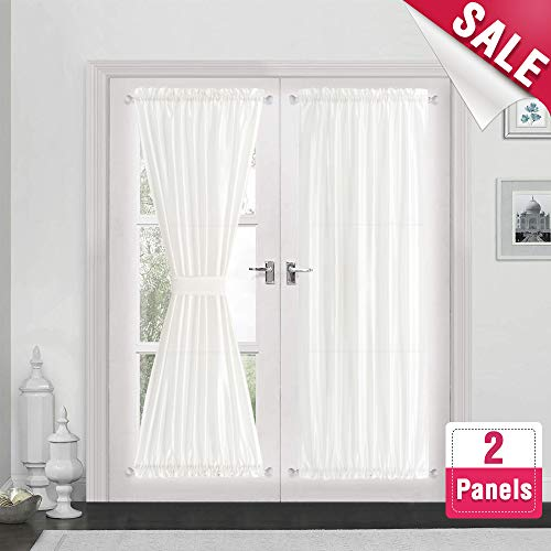 Privacy French Door Panels White Curtains for French Doors Faux Silk French Door Curtains 72 inch Length 2 Panels with 2 Bonus Tiebacks