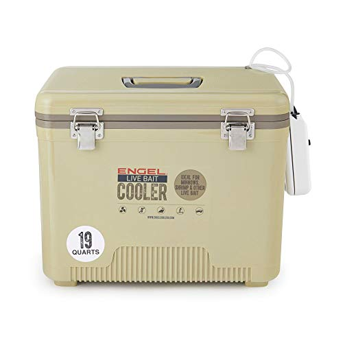Engel 19 Quart Insulated Live Bait Fishing Dry Box Cooler with Water Pump, Tan