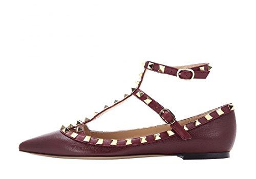 Arc-en-ciel zapatos de las mujeres del dedo del pie en punta hebilla tachonada pisos Burgundy