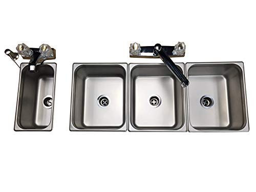 4 3 Compartment Custom (Steam Table Pans) Drop In Sink for Portable Food Trucks, Trailers or Kiosk with Hot Water and Hand Wash DIY 17 pieces