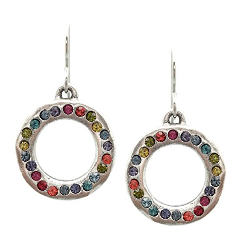 Patricia Locke Celebration Multi Color Eddy Circle Swarovski Crystal Silver Plated Earrings by Patricia Locke