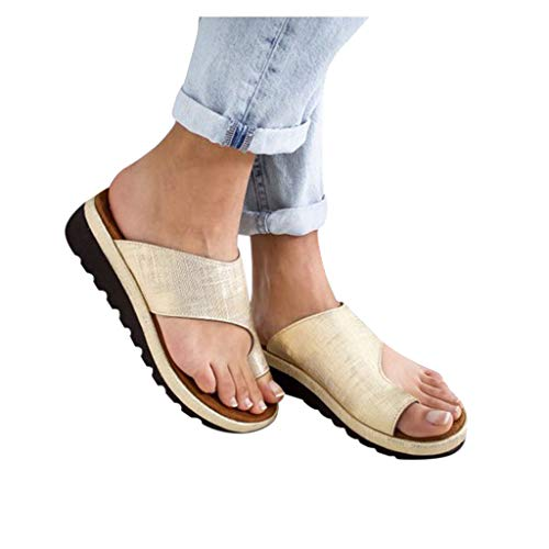Women Comfy Platform Toe Ring Wedge Sandals Shoes Summer Open Toe Ankle Casual Shoes Roman Slippers Sandals Gold