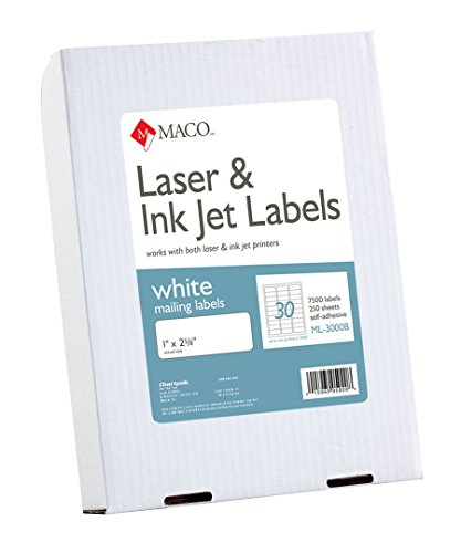 MACO Laser/Ink Jet White Address Labels, 1 x 2-5/8 Inches, 30 Per Sheet, 7500 Per Box (ML-3000B) - Stock Index Maker