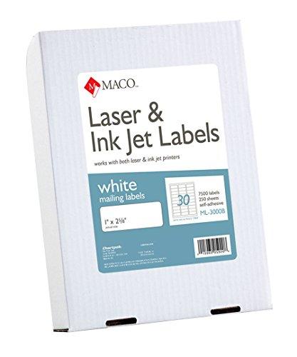 MACO Laser/Ink Jet White Address Labels, 1 x 2-5/8 Inches, 250 Sheets, 7500 Per Box (ML-3000B)