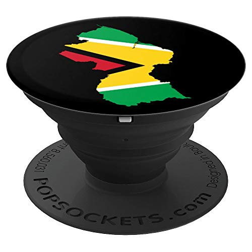 Guyanese Flag And Country Map Gift For Guyana Pride - PopSockets Grip and Stand for Phones and Tablets ()