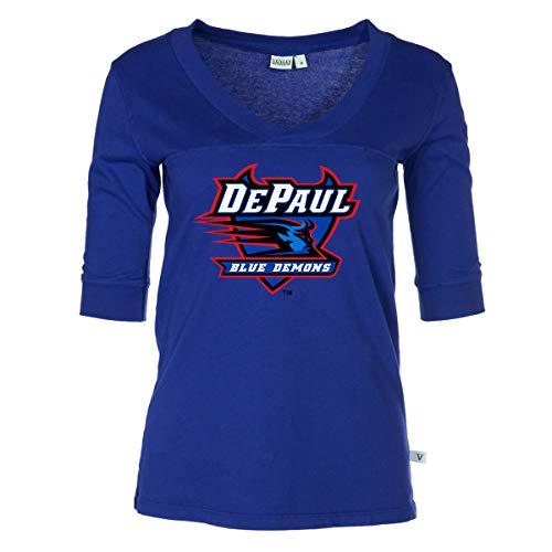 Official NCAA DePaul Blue Demons - Women's 3/4 Sleeve Football Jersey ()
