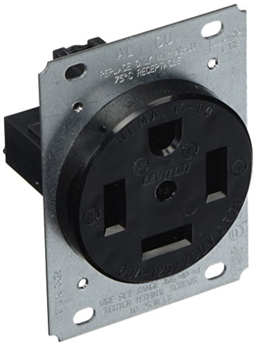 (Leviton 9460 60 Amp, 125/250 Volt, Flush Mounting, Receptacle, Straight Blade, Industrial Grade, Grounding,)