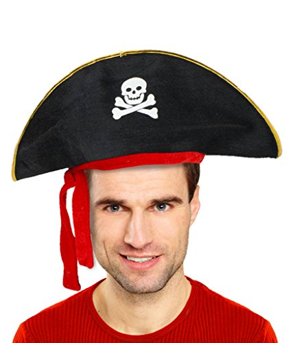 Fun Central AT807 Deluxe Felt Pirate Hat (Ahoy Matey Mens Adult Costume)