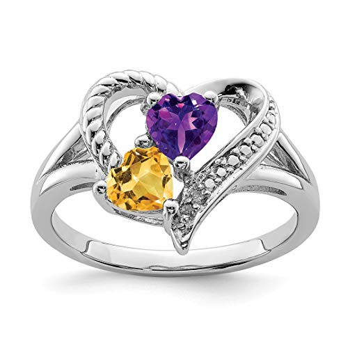 Purple Amethyst Yellow Citrine Diamond Band Ring Size 9.00 S/love Gemstone Fine Jewelry For Women Gift Set ()