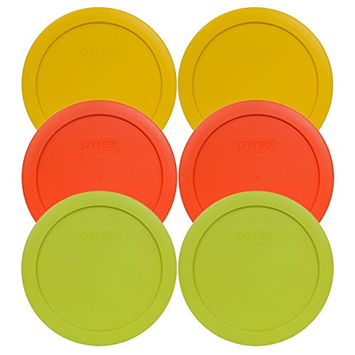(Pyrex 7201-PC Round 4 Cup Storage Container Lids for Glass Bowls (2-Butter Yellow, 2-Pumpkin Orange, 2-Edamame Green))