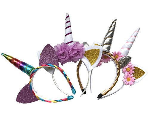The Original Unicorn Horn Headband, 4 Different Super Cute Designs, Light and Quality Materials, Vibrant Color, Perfect for Party Decorations or Cosplay Costume (Halloween Group Ideas For 4)