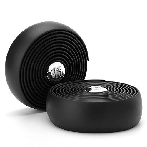 TRAIL-BLAZERR Road Bike Handlebar Tape, Bar Tape, Bicycle Cork Handlebar Tape, Bar Wraps with 2 Handlebar End Plugs-Black