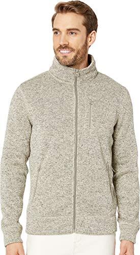 (Lucky Brand Men's SHEARLESS Fleece Full Zip Mock Neck Sweatshirt, Cream S)