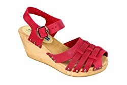 Moheda Lucilla Wedge Clogs in Red Leather