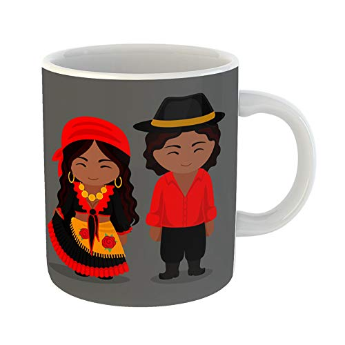 Emvency Funny Coffee Mug Gypsies in Traditional Costume Romany Man and Woman Boy and Girl Cute Cartoon 11 Oz Ceramic Coffee Mug Tea Cup Best Gift Or Souvenir
