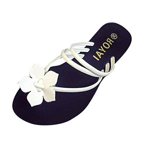 Womens Slipper ,Clode® Fashion Summer Ladies Girls Bohemia Flower Clip Toe Flat Flip Flops Slipper Sandals Beach Shoes for Holiday ,Party White