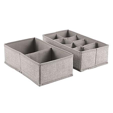 Inter Design Fabric Dresser Storage Solution For Underwear, Socks, Tights, Accessories, Linen Aldo Drawer Organizer 10 S (Set Of 2), Compartments, 2 Piece by Inter Design