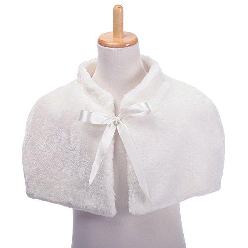 Remedios Ivory Flower Girl Wedding Party Wrap Bolero Jacket Cape w Ribbon, S by Remedios