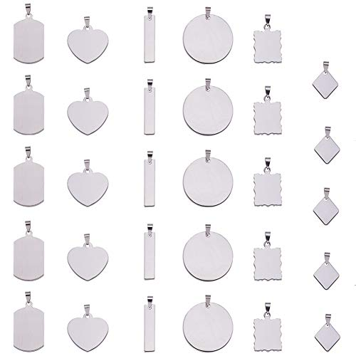 BENECREAT 30PCS Large Stainless Steel Blank Stamping Tag Mixed Shape Charm Pendants with Snap on Bails for Bracelet Necklace Making