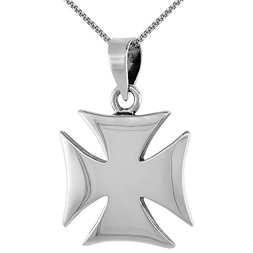 Sterling Silver High Polished Maltese Iron Cross, 7/8