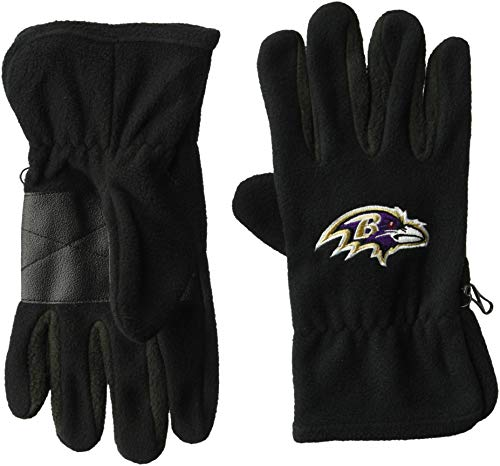 Baltimore Ravens Gloves - OTS NFL Baltimore Ravens Male Fleece Gloves, Black, Men's
