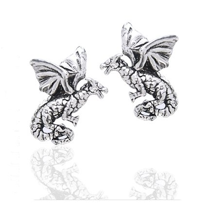 Small Flying Dragons - Detailed Sterling Silver Post Stud Earrings