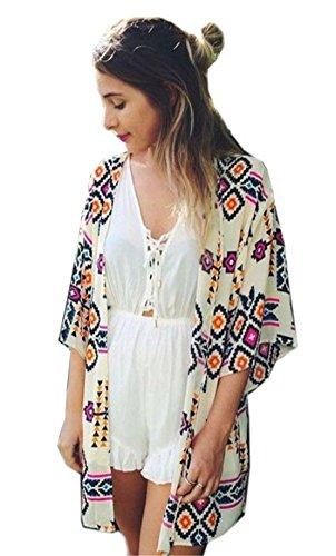 Tribal Print Top - Relipop Women's Sheer Chiffon Blouse Loose Tops Kimono Floral Print Cardigan (Small, Style 4)