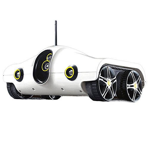 JAMOR Home Patrol Robot Mobile Remote Control Video Car Smart Security Mobile Robot Panorama Camera Small Tank,White