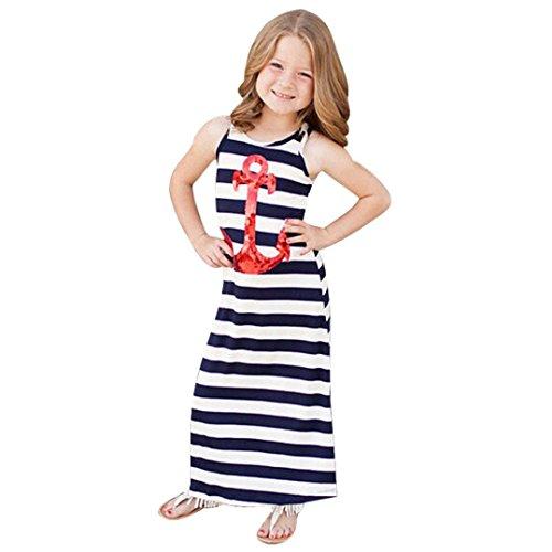 Usstore 1PC Girls Sleeveless Dress Kids Stripe Anchors Paillette (130cm-5-6Y) - Paillette High Heel