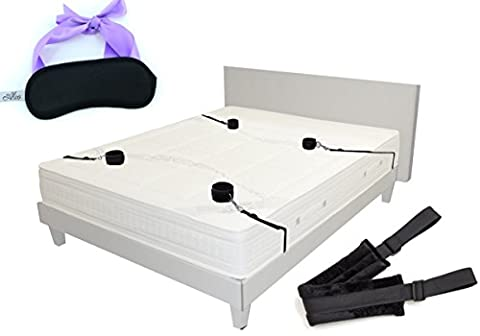 Bondageromance restraint kit for your partner comes with full adjustable bed straps medical grade BED CUFFS BLINDFOLD and DOGGY STYLE belt all SAFE great GIFTS for women and men one size fits (Cosa De U??as)