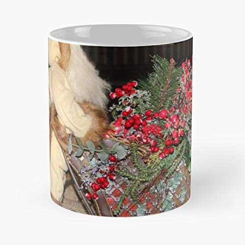 Sleigh Metal Centerpiece Filled - 11 Oz Coffee Mugs Unique Ceramic Novelty Cup, The Best Gift For Holidays.