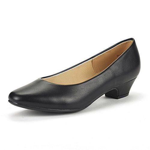 DREAM PAIRS Women's Mila Black PU Low Chunky Heel Pump Shoes Size 8.5 M US