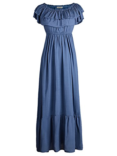 Anna-Kaci Womens Boho Peasant Ruffle Stretchy Short Sleeve Long Dress, Slate Blue, X-Large