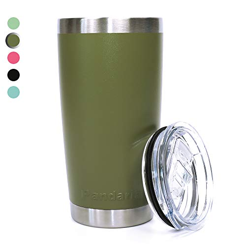 (Pandaria 20 oz Stainless Steel Vacuum Insulated Tumbler with Lid - Double Wall Travel Mug Water Coffee Cup for Ice Drink & Hot Beverage, Army Green)