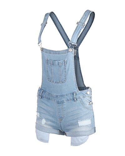 Dream Supply Womens Juniors Distressed Slim Stretch Denim Overall Shorts ()