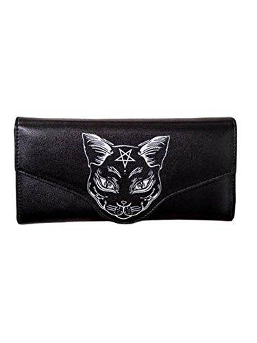 Pentagram Wallet (Lost Queen Nemesis Black Cat Face Pentagram Star Gothic Wiccan Vegan Wallet)
