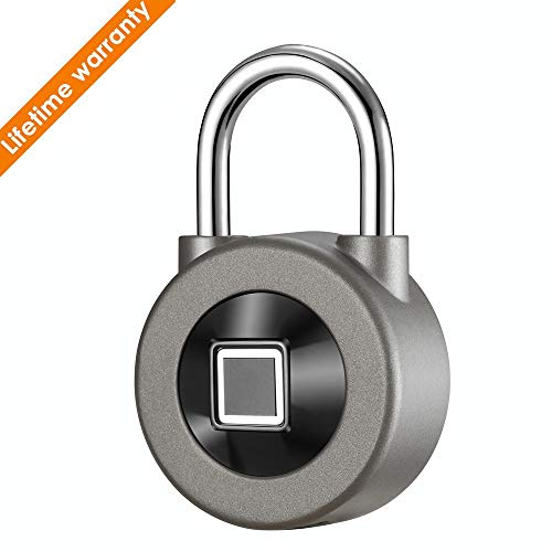 Waterloo Fingerprint Lock Padlock,Waterproof iOS/Android APP Smart Remote Control Luggage Lock for Door (grey1)