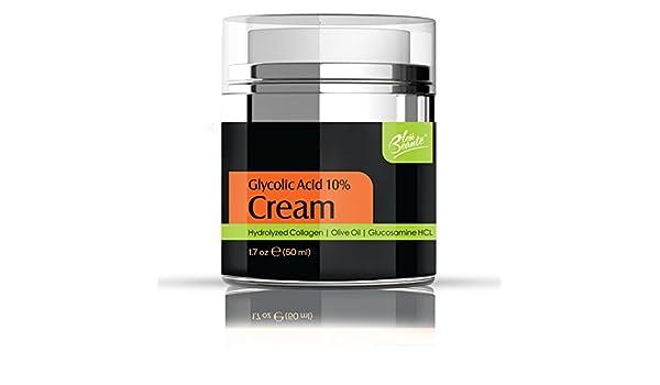 Bleu Beaute Glicólico 10% Crema de antioxidantes, colágeno hidratado, aceite de oliva, para prevenir el envejecimiento líneas finas, arrugas, poros, ...