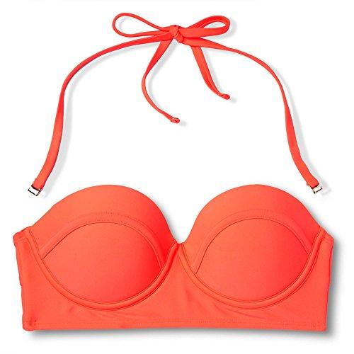 Xhilaration Women's Midi Bandeau Bikini Top (S, Hot Coral)
