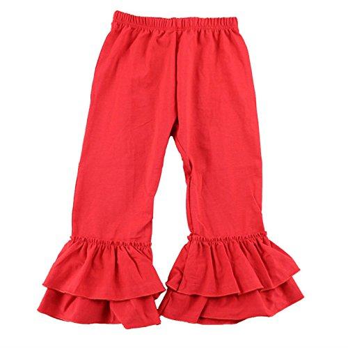 (Wennikids Children's Little Girls Ruffle Soft Cotton Flare Pants Large Red)