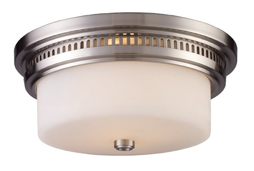Elk 66121-2 Chadwick 2-Light Flush Mount, 5-Inch, Satin Nickel Oiled Copper Two Light