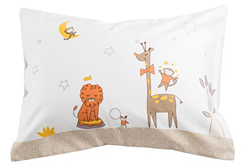 """Price comparison product image Toddler Travel Pillowcase 100% Softest Cotton Sateen Pillow Case,  Covers 13""""x18"""" or 14""""x19"""",  Toddler Baby Travel Pillows Naturally Hypoallergenic-Kids Design- Envelope Style Cases 400 TC (Circus)"""