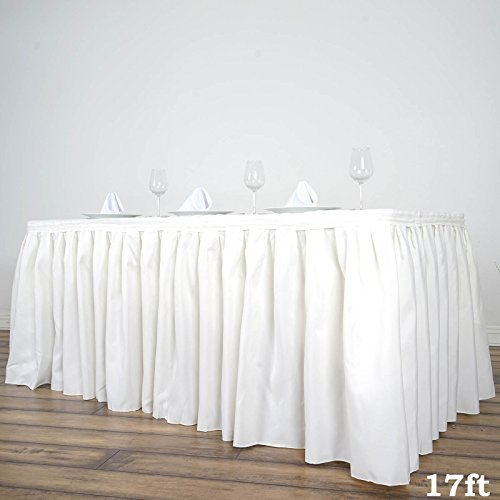 BalsaCircle 17 feet x 29-Inch Ivory Polyester Banquet Table Skirt Linens Wedding Party Events Decorations Kitchen Dining Catering (Linens Banquet Wholesale Supply)