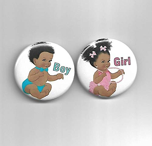 - African American Skin Tone Afro Gender Reveal Baby Shower Party Favors Pin Back Buttons Boy Girl Pink Turquoise - Set of 20-1-1/2
